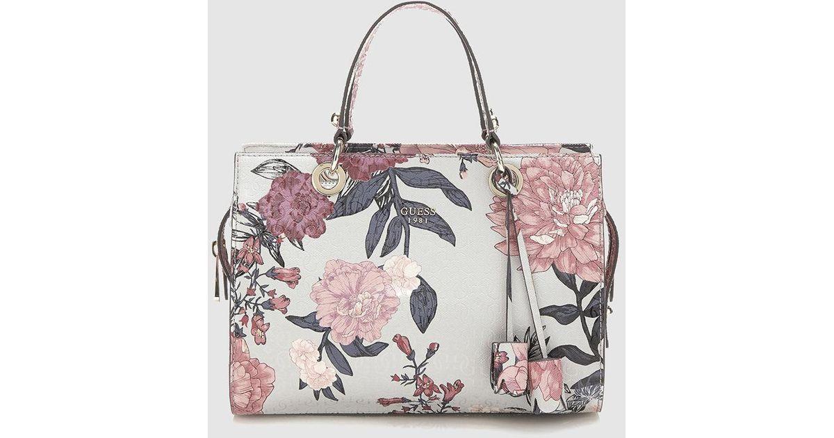 Guess Floral Print Handbag With Grey Undertone