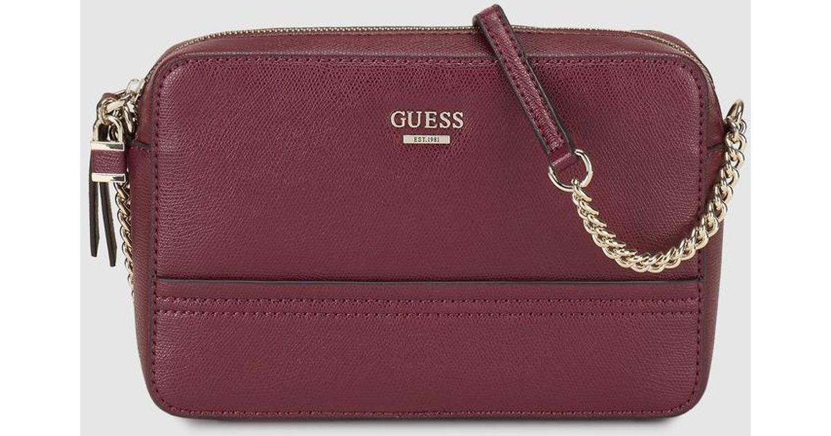 6416542a9117 Guess Wo Burgundy Faux Saffiano Leather Crossbody Bag - Lyst