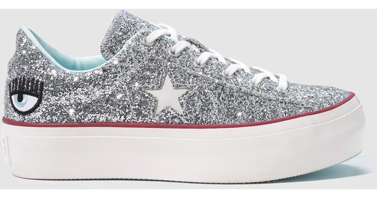 Silver Canvas TrainersChiara Collection Converse Metallic Glitter Ferragni PX08wOnk
