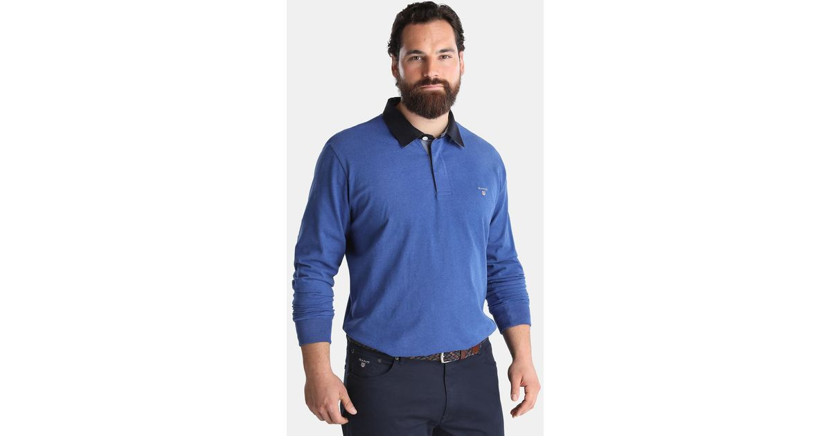 Gant big and tall long sleeve blue polo shirt in blue for for Big and tall long sleeve shirts