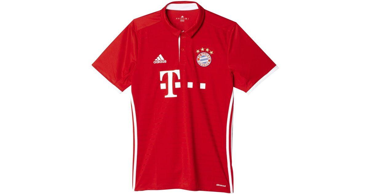 buy online 2e70b 66213 Adidas Originals Red Fc Bayern Munich 2016-2017 Home Strip T-shirt for men