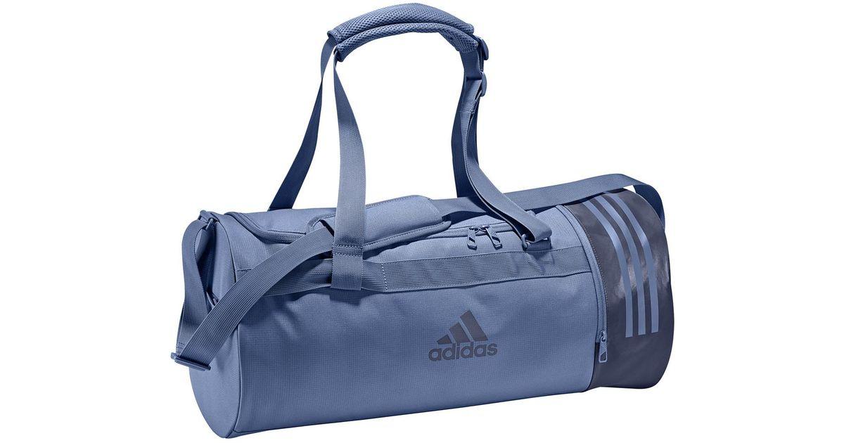Adidas Blue Convertible 3 Stripes Duffel M Sports Bag
