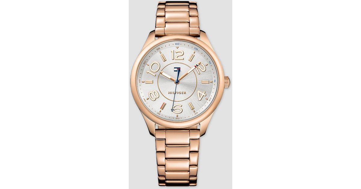 lyst tommy hilfiger sof a rose gold watch in pink. Black Bedroom Furniture Sets. Home Design Ideas