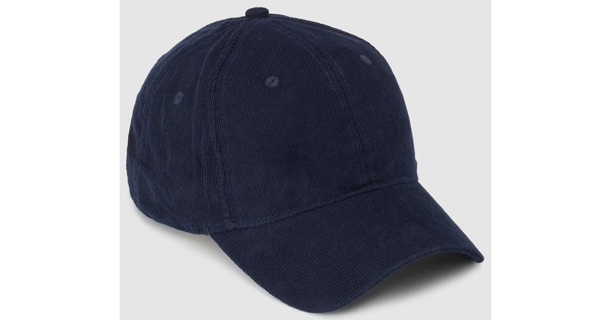 El Corte Inglés Navy Blue Corduroy Cap in Blue - Lyst 62858de4f9b9