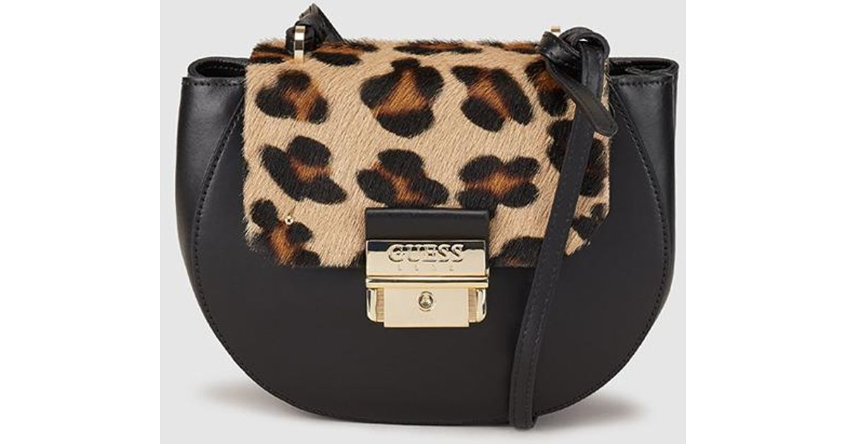 dcc32e0fd5e4 Guess Black Leather Crossbody Bag With Animal Print Flap in Black - Lyst