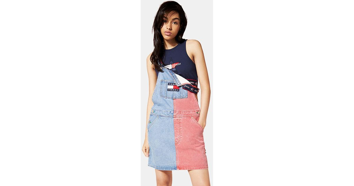 low cost los angeles low priced Tommy Hilfiger Two-tone Denim Pinafore in Blue - Lyst