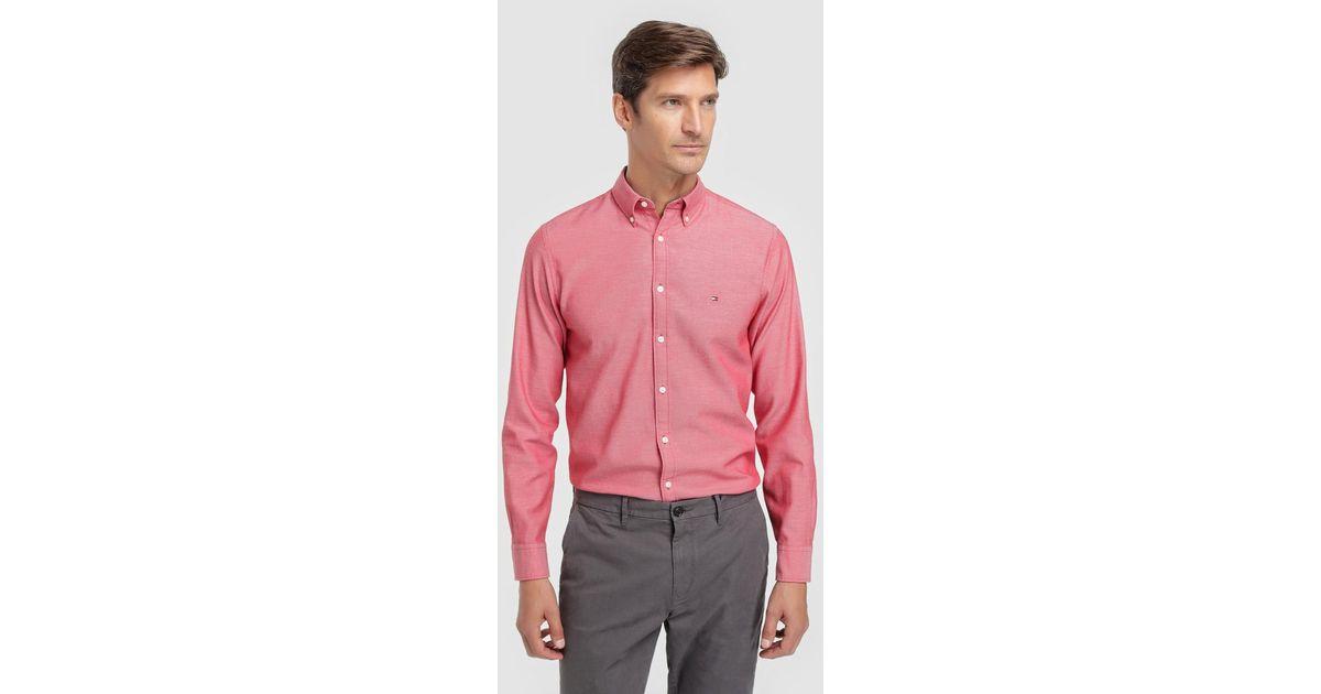 e959ea0f Tommy Hilfiger Regular-fit Plain Red Shirt in Red for Men - Lyst