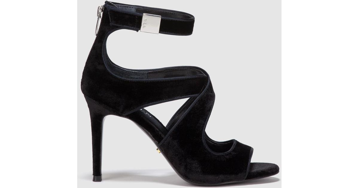 Lauren by Ralph Lauren Black Velvet High heel Sandals