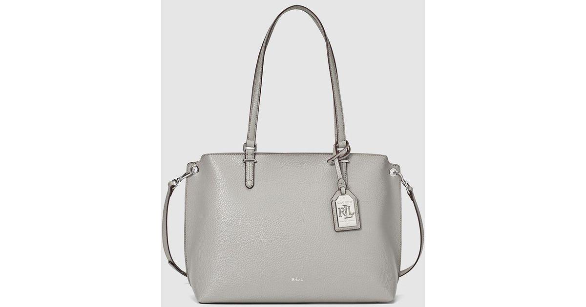 f28020f3845f Lauren By Ralph Lauren Light Grey Shopper Bag With Metallic Pendant in Gray  - Lyst