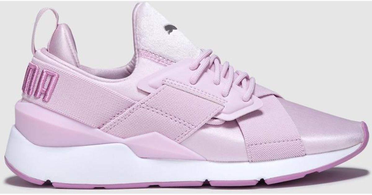 save off 8582e dec29 PUMA Muse Satin 2 Pink Lace-up Trainers