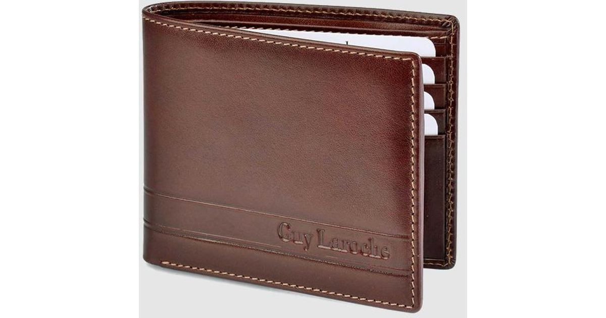 103f1b47 Guy Laroche Brown Leather Wallet With Embossed Brand Logo for men