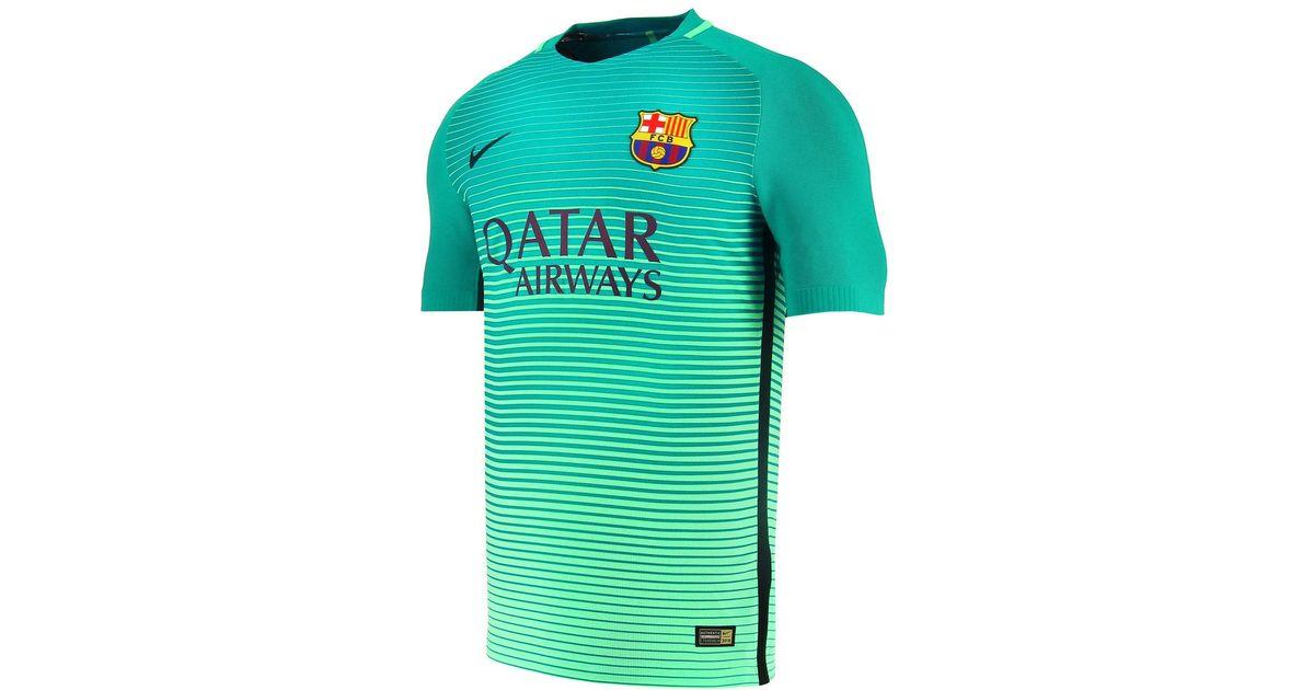 release info on 6236b e3533 Nike Green Fc Barcelona Vapor Match 2016-2017 Third Kit T-shirt for men
