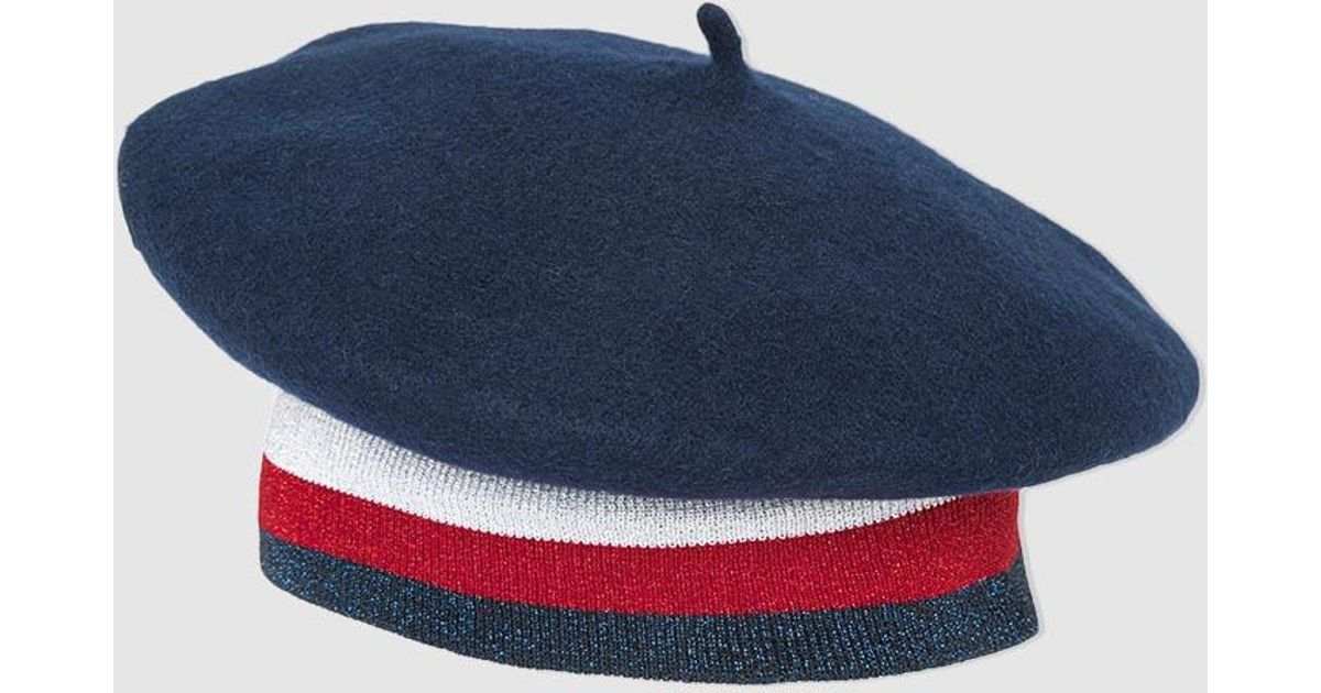 56e4fa4748e95 Tommy Hilfiger Navy Blue Cotton Beret With Lurex in Blue - Lyst