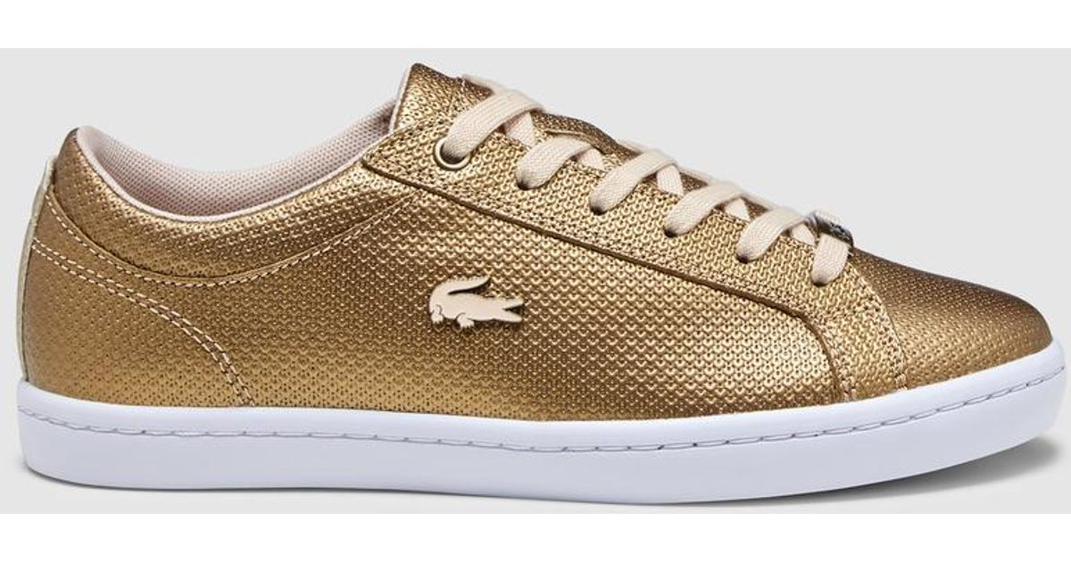 new style dce78 230b4 Lacoste Metallic Gold Trainers With Logo