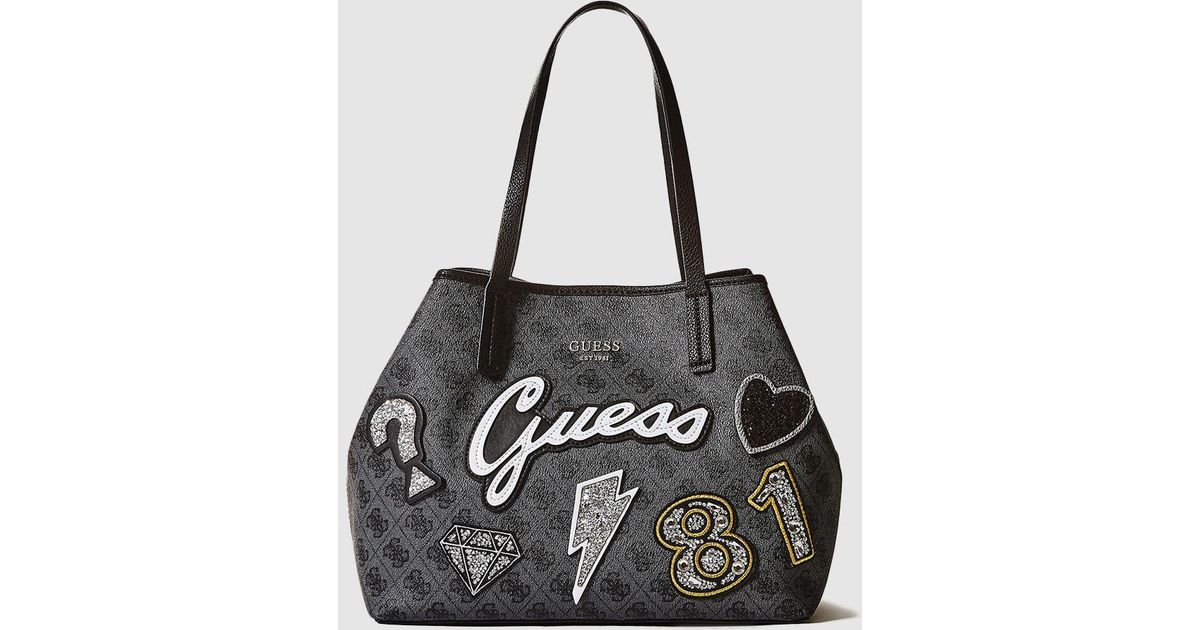 Guess Medium Dark Grey Logo Print Tote Bag With Patches In