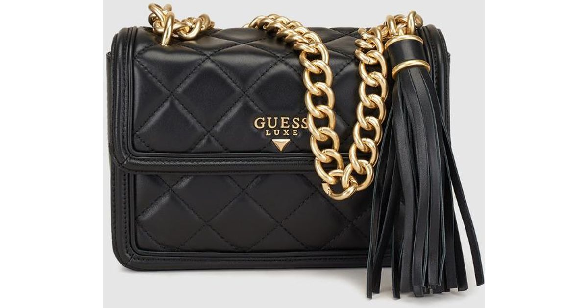 Guess Wo Black Leather Quilted-effect Crossbody