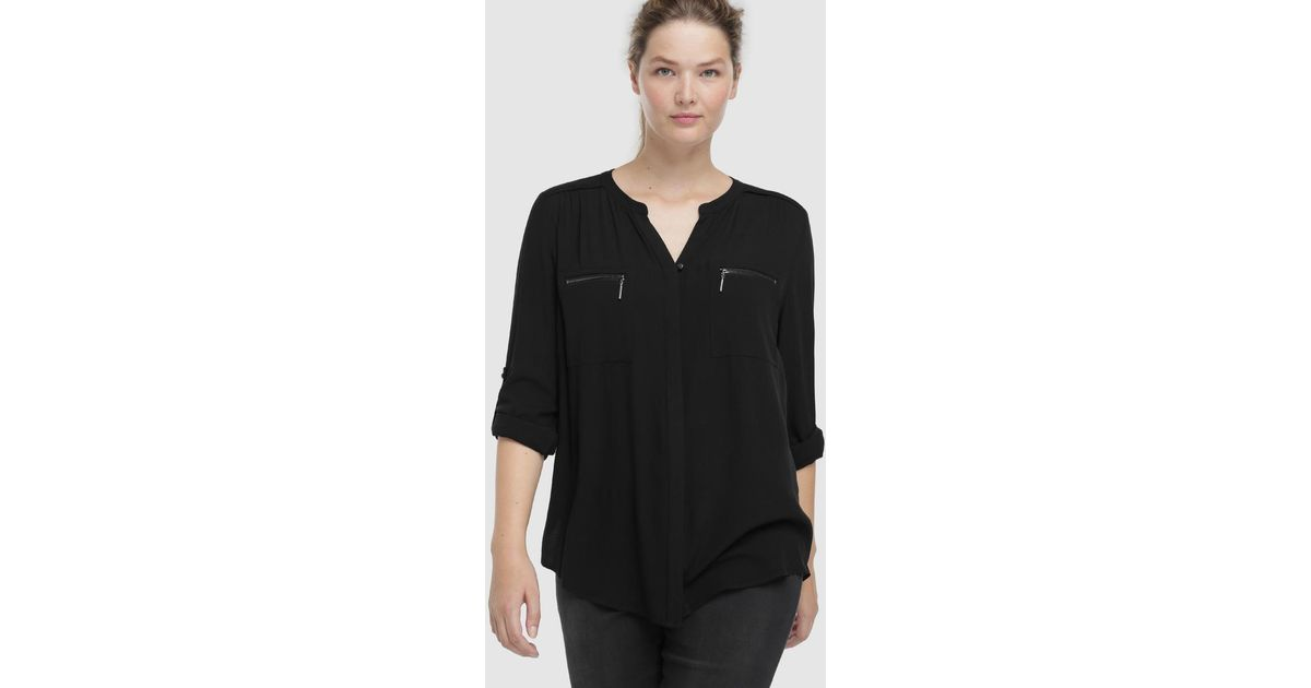 Couchel Synthetic Wo Plus Size Plain Blouse With Zipped
