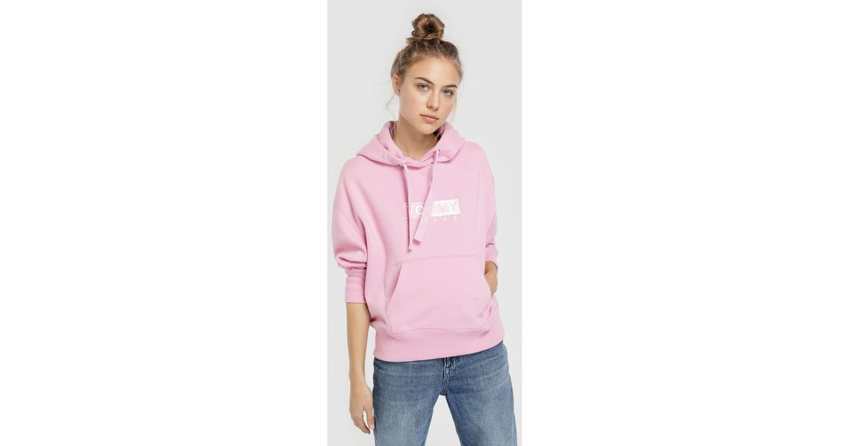 26fc6dcc16f Lyst - Tommy Hilfiger Hooded Sweatshirt With Embroidered Logo in Pink