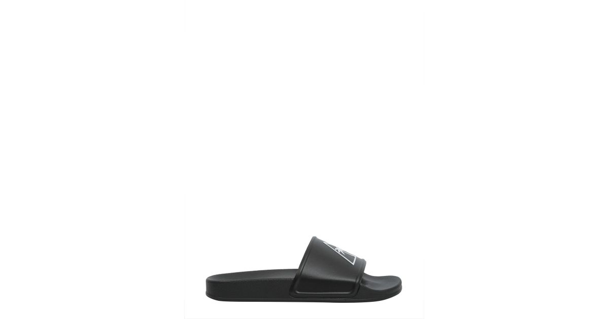 68c519b120e0 Palm Angels Slide Rubber Sandals With Palm in Black for Men - Lyst