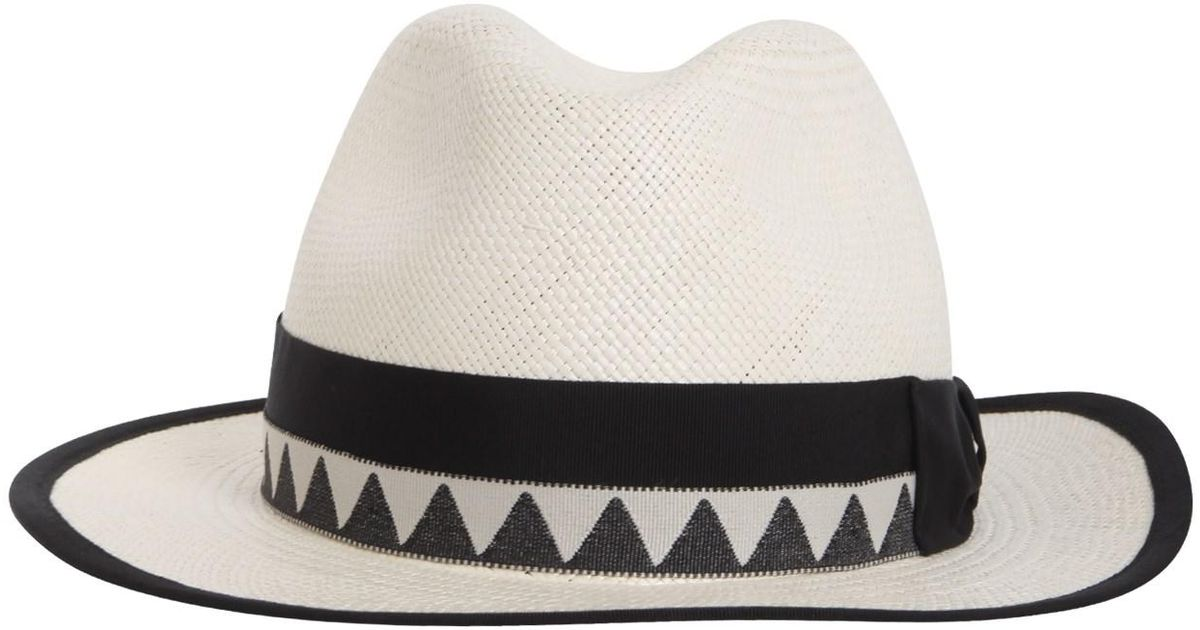 Borsalino Panama Quito Jacquard Straw Cap in White - Lyst 14b8bc6e58b0