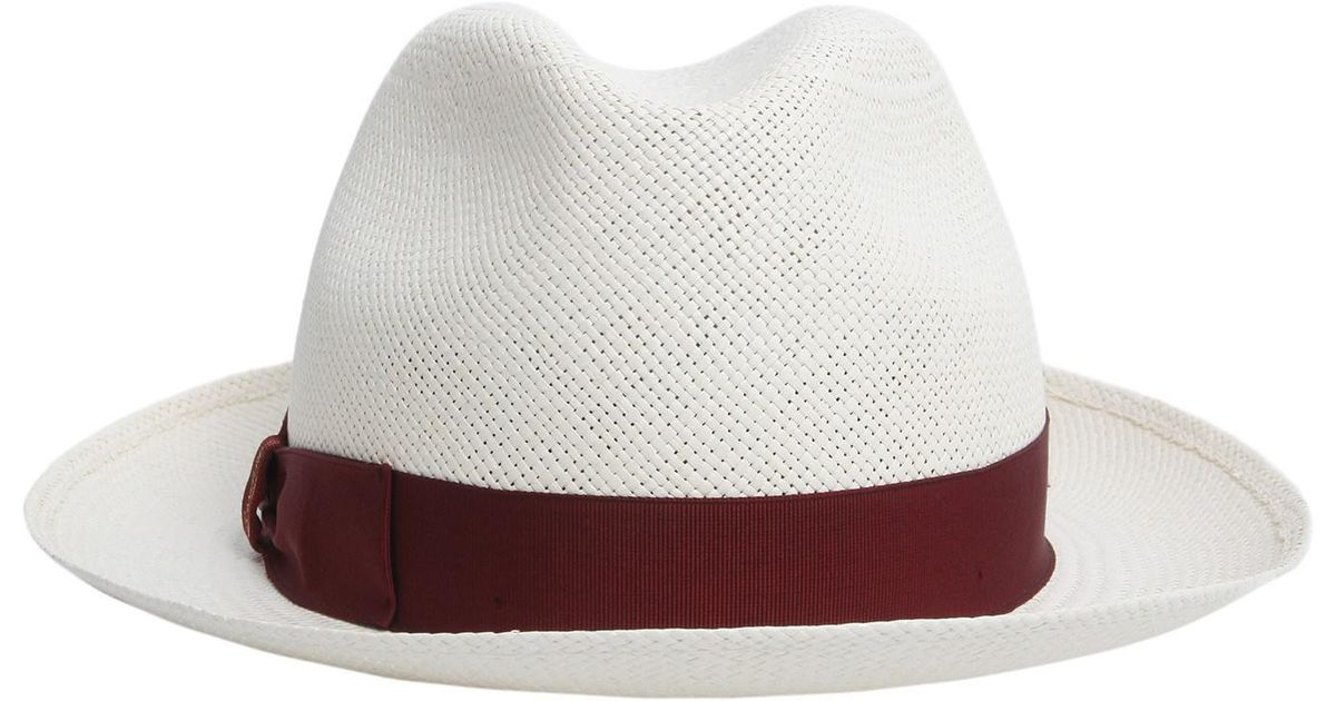 Borsalino Panama Quito Jaquard Tesa Media In Paglia in White - Lyst 2a96eb363259