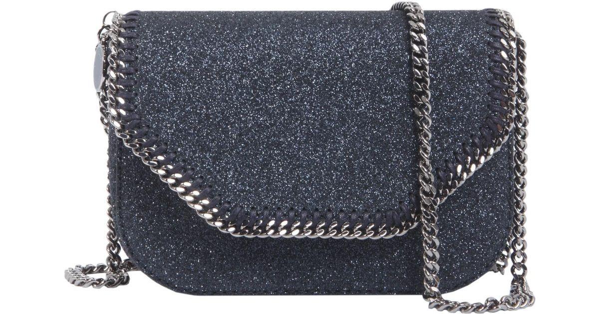 Stars Glitter Mini Tote Falabella Box in Black Eco Fabric Stella McCartney d9AvxOy