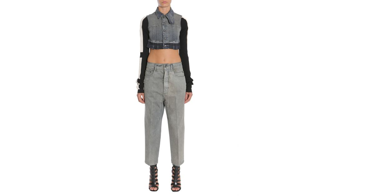 59ff54131 Rick Owens Drkshdw Blue Cropped Denim Jacket With Contrasting Colour Sleeve