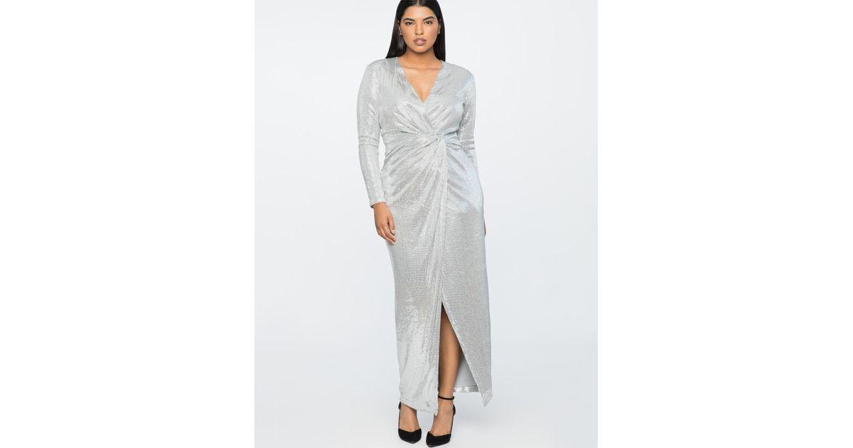 7e5b8e7b8db Lyst - Eloquii Jason Wu X Sequin Wrap Gown in Metallic