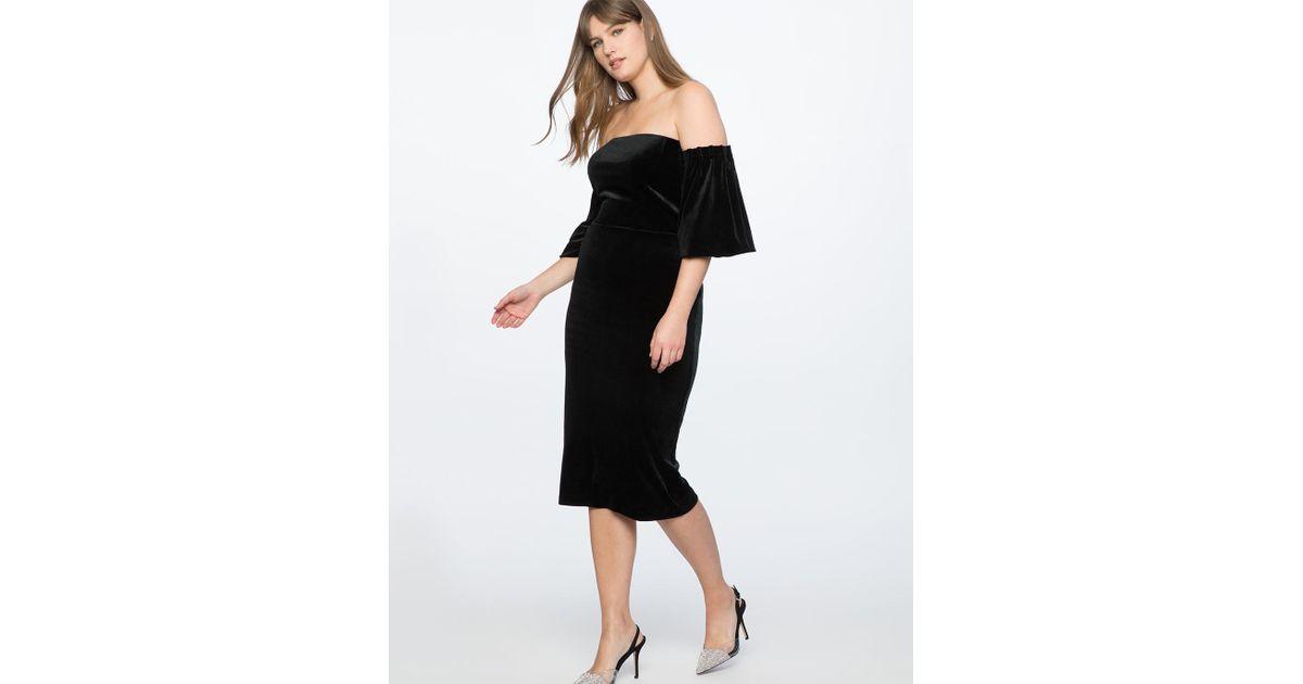 3d24bb485a7 Lyst - Eloquii Strapless Velvet Dress With Full Sleeves in Black