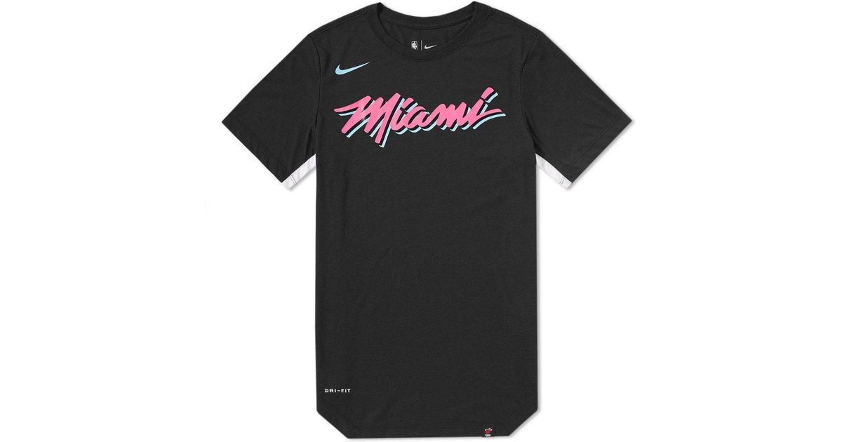 aec7387f2 Nike Miami Heat City Edition Tee in Black for Men - Lyst