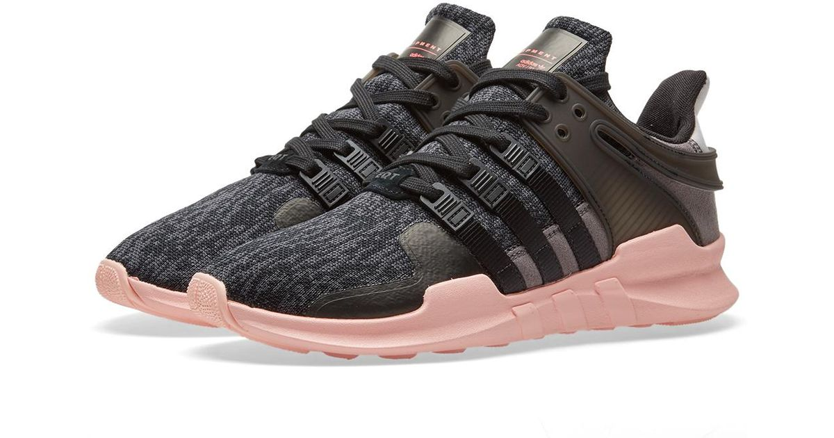 2cd5daa5662f Lyst - adidas Originals Black   Pink Equipment Support Adv Sneakers in Black