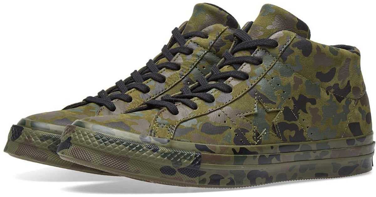 e84efa2f7256 ... cheap converse one star mid camo pack in green for men lyst 918c0 62a18