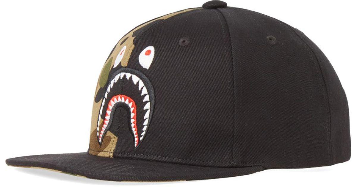 648b34becf678 Lyst - A Bathing Ape 1st Camo Shark Snap Back in Black for Men