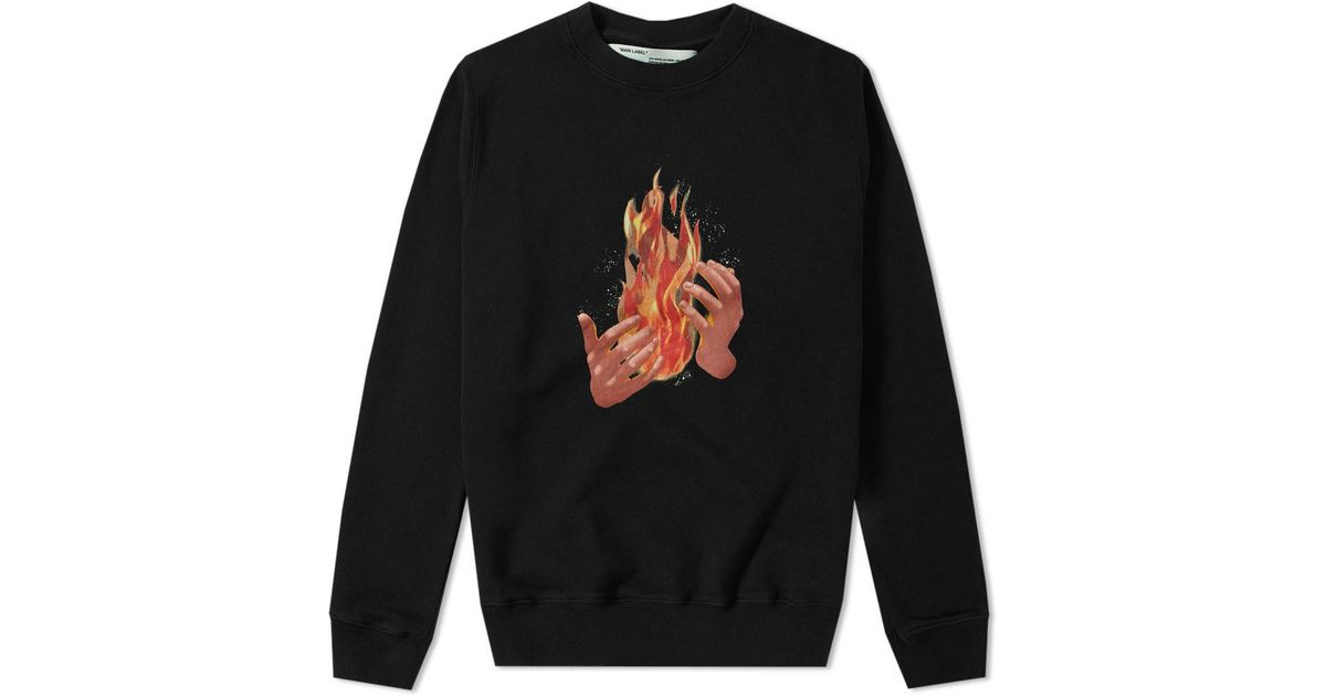 444996be Off-White c/o Virgil Abloh Diagonal Fire Crew Sweat in Black for Men - Lyst