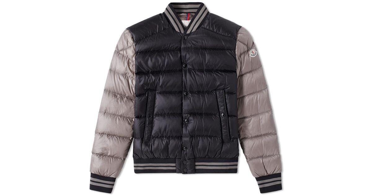 218047604 Moncler Black Bradford Varsity Jacket for men