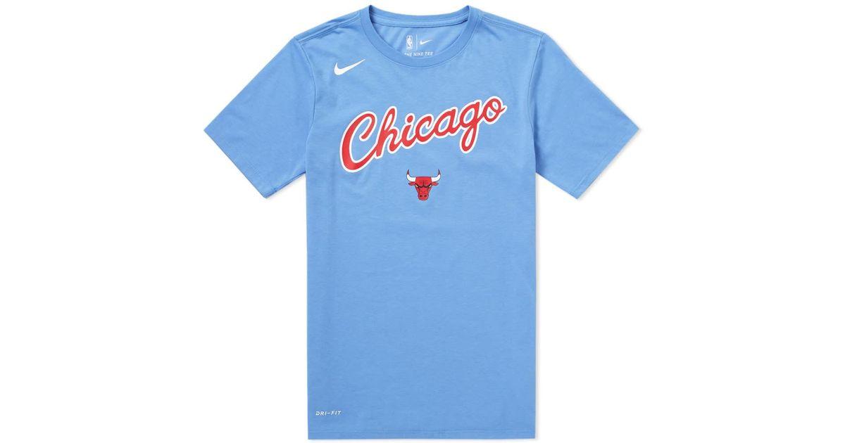 best cheap f4fd4 7da50 Nike - Blue Chicago Bulls City Edition Tee for Men - Lyst