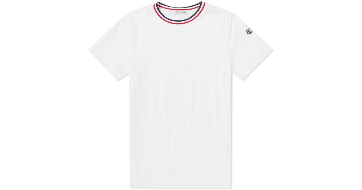 a97427f77 Moncler White Maglia Tricolour Collar Tee for men