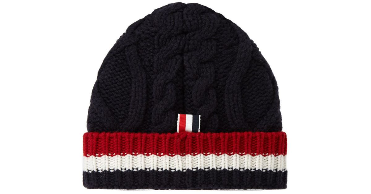 d753201e2 Thom Browne - Blue Merino Aran Cable Hat for Men - Lyst