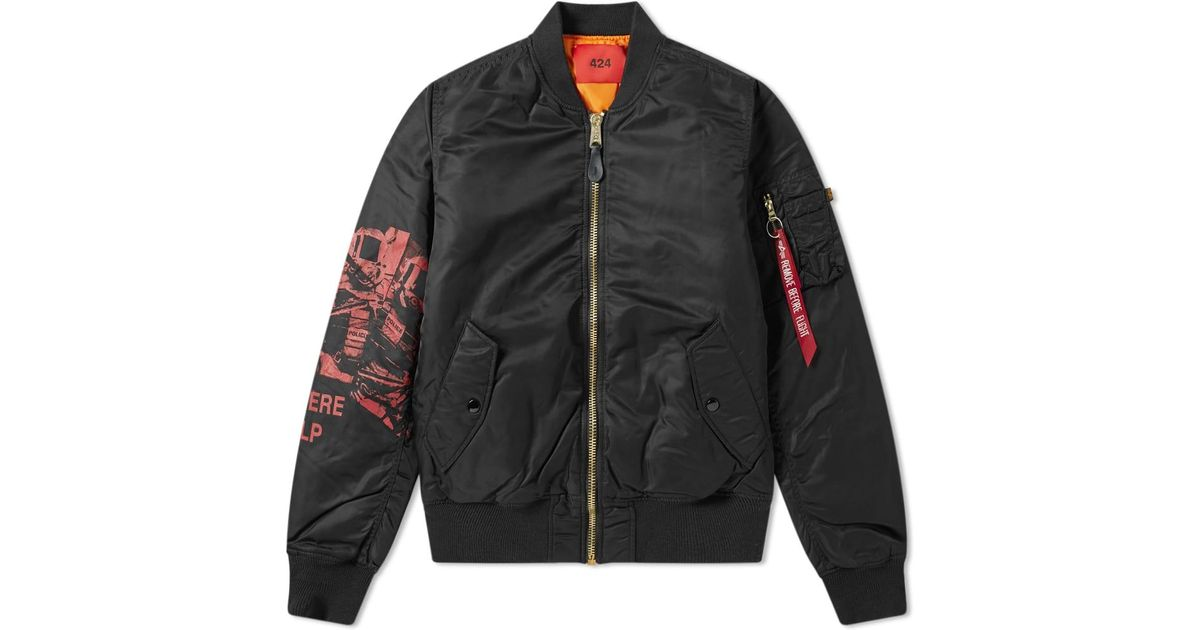87d1df695 424 Black X Alpha Industries Bomber Jacket for men