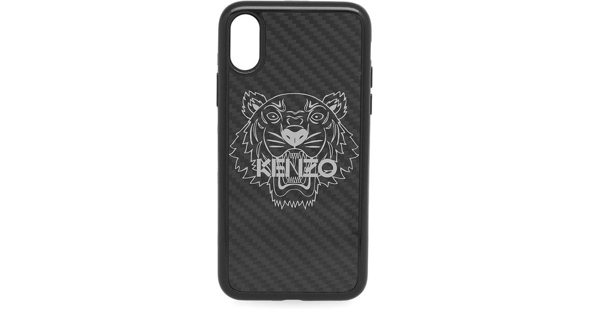 266488a5 KENZO Black Carbon Fibre Iphone X Case for men