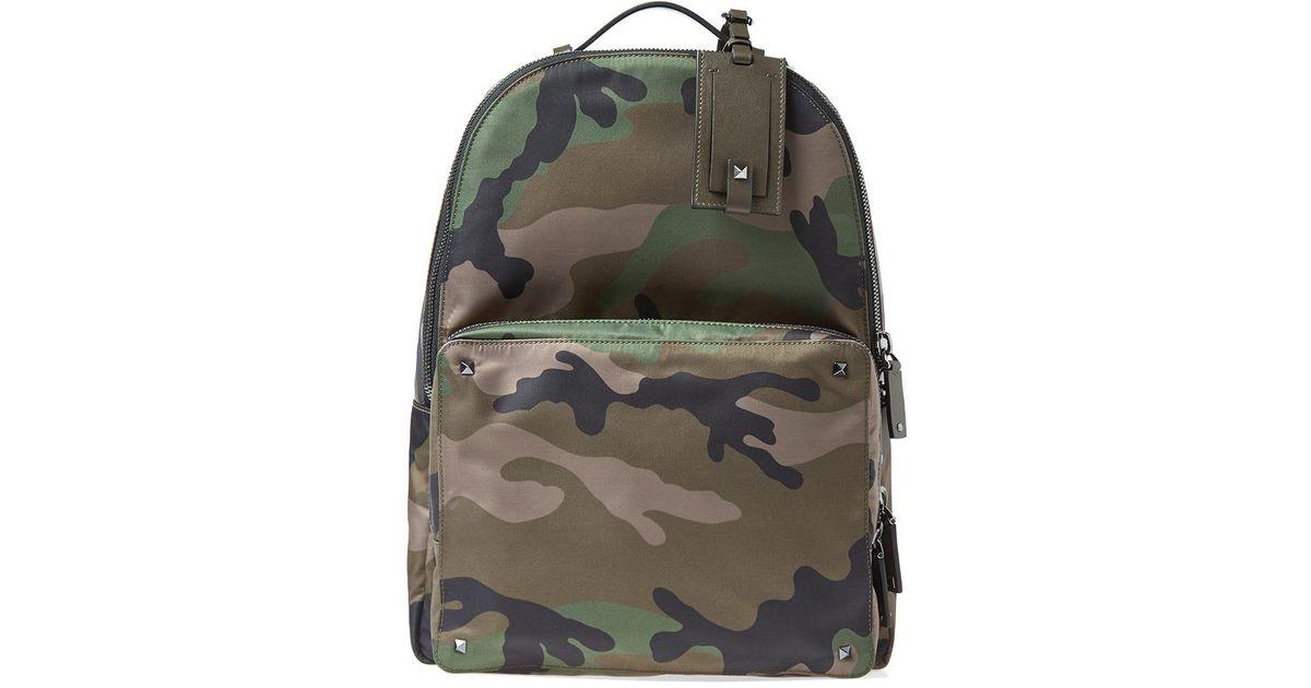 056663818b Valentino Nylon Jacquard Camo Backpack in Green for Men - Lyst