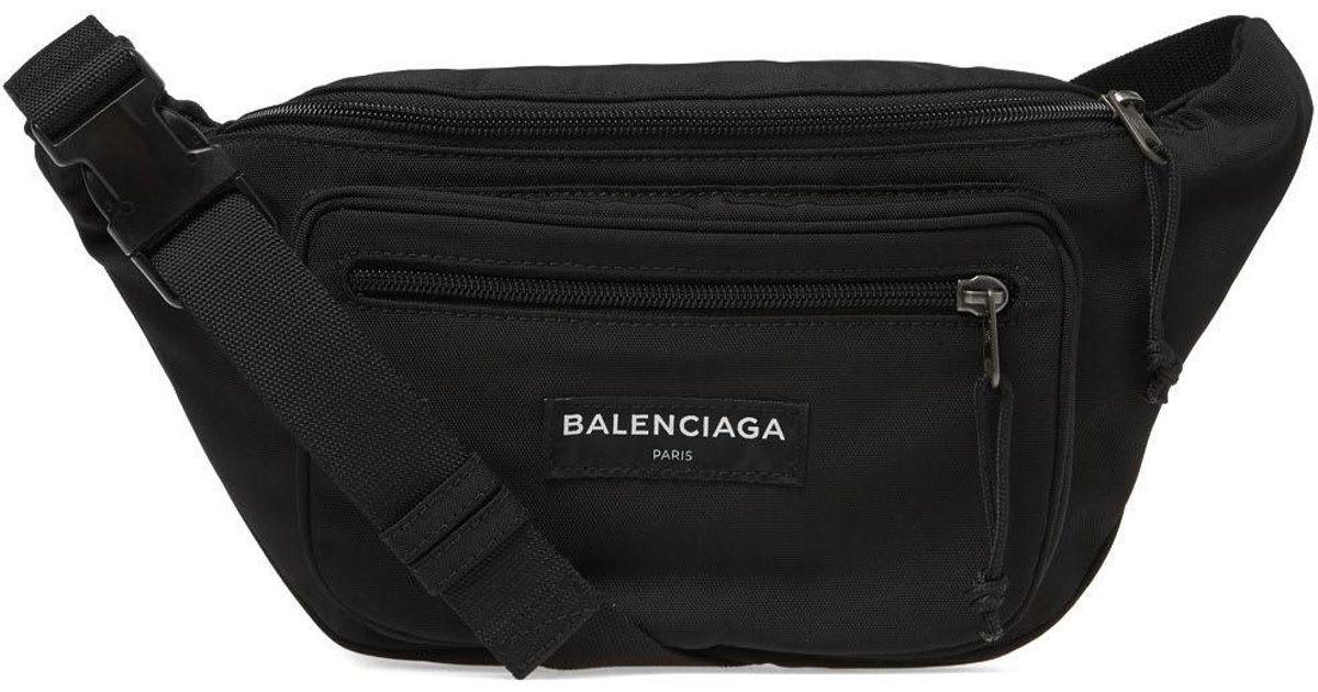d916e2666b17a Balenciaga Black Nylon Logo Waist Pack for men