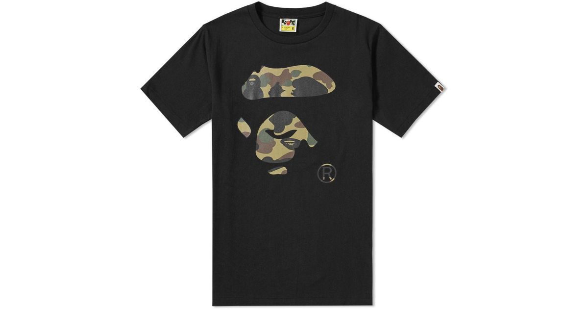 ea94878a A Bathing Ape 1st Camo Ape Face Tee in Black for Men - Lyst