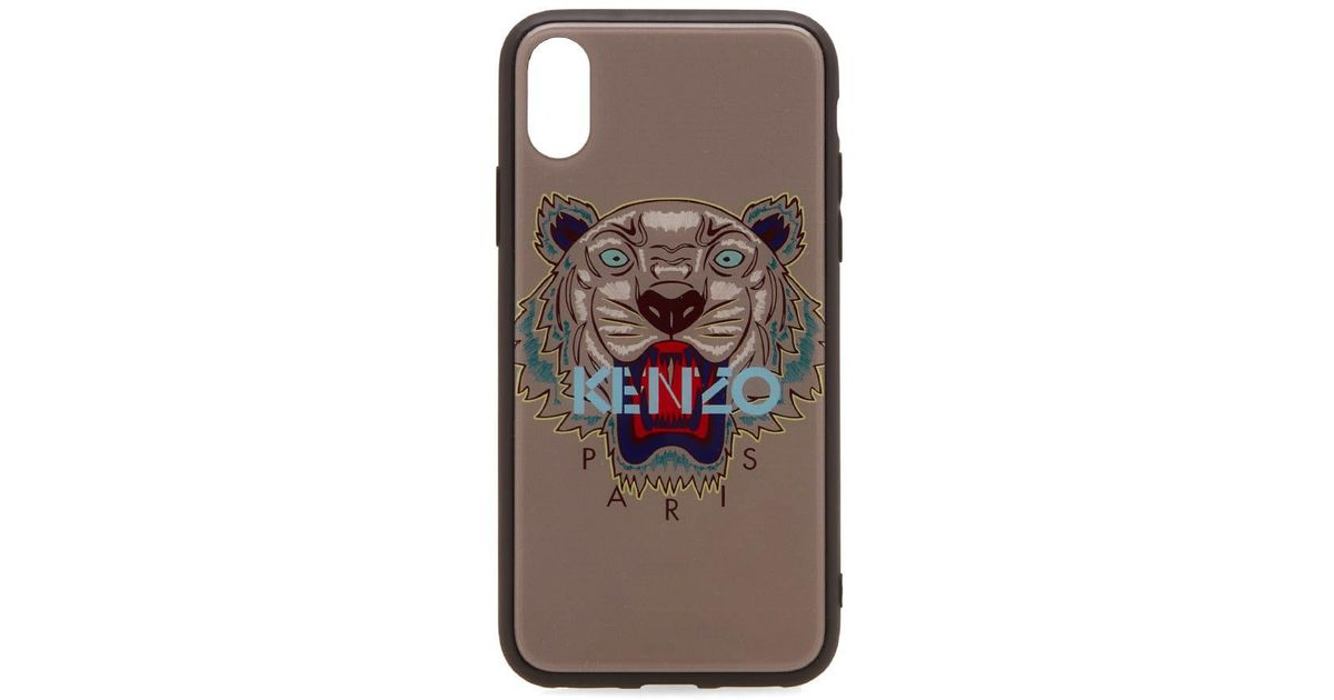 53dd4509 KENZO Gray Acrylic Tiger Iphone X Case for men