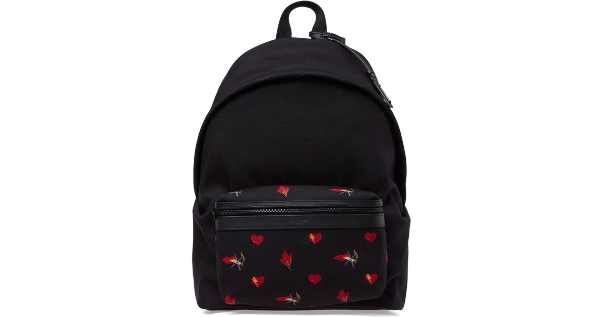 8bd676a338bc Saint Laurent Heart Print Canvas Backpack in Black for Men - Lyst