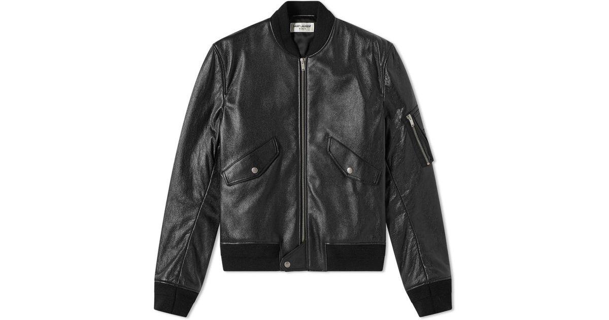 f12d3f8f0 Saint Laurent Black Leather Ma-1 Bomber Jacket for men