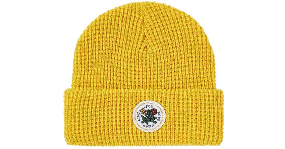 392a015e6835 Aimé Leon Dore Waffle Knit Beanie in Yellow for Men - Lyst