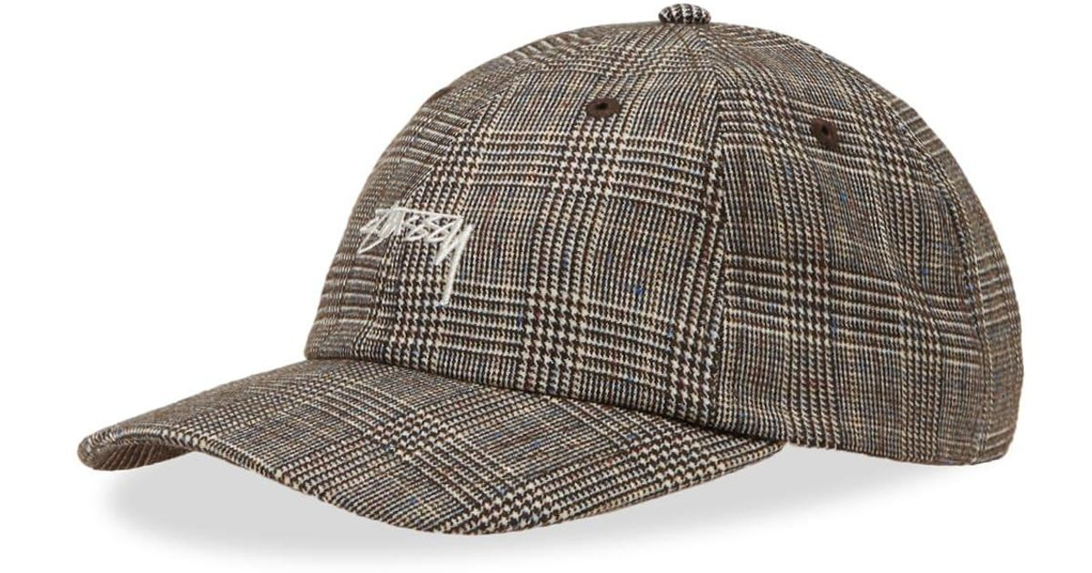 3aa82a342806d6 Stussy Glen Plaid Low Pro Cap in Brown for Men - Lyst