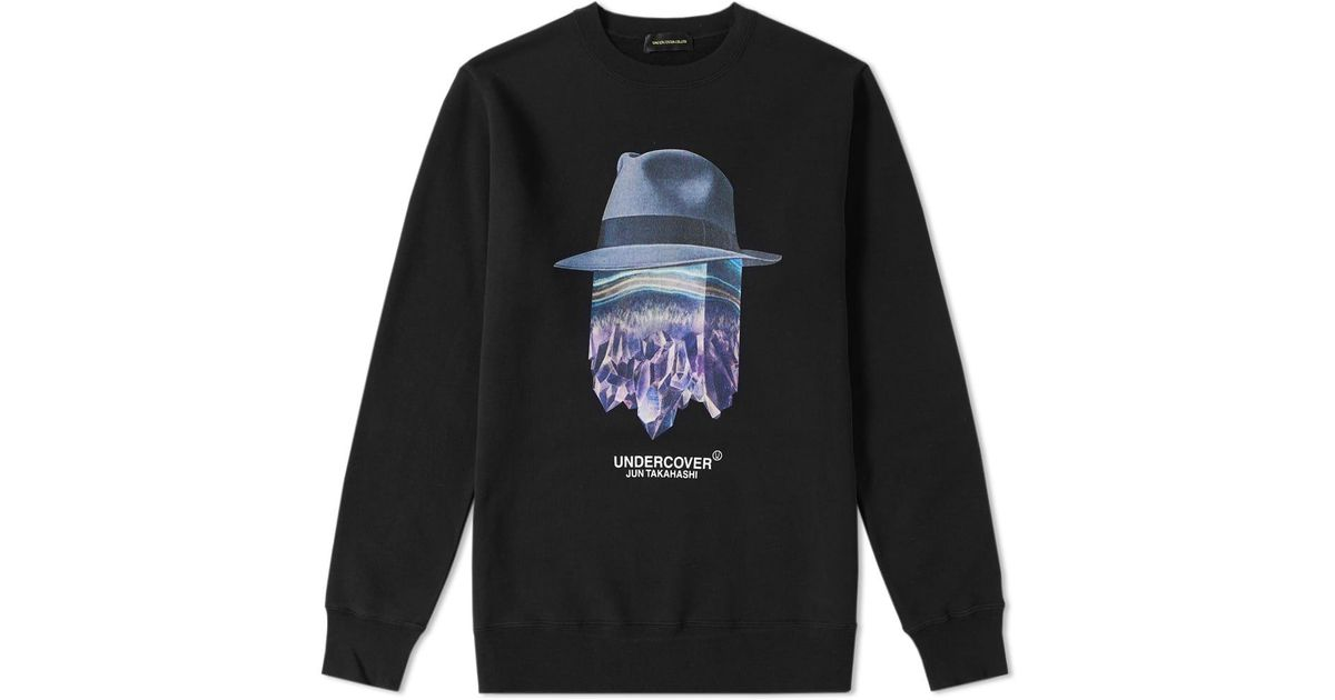 Lyst - Undercover Crystal Hat Logo Crew Sweat in Black for Men 41500a4dfa
