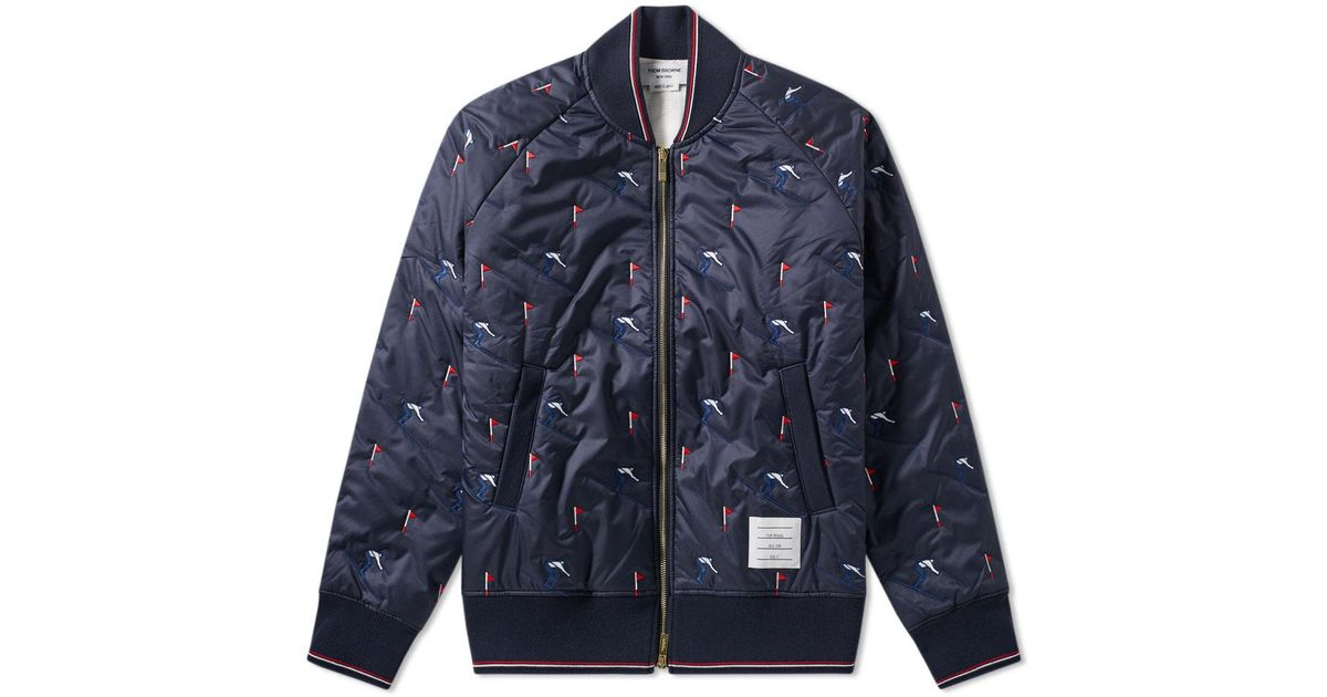 ca4c361404 Thom Browne Blue Skier Embroidery Quilted Bomber Jacket for men